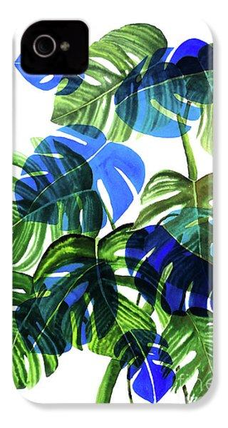 Blue Monstera IPhone 4 Case by Ana Martinez