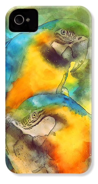 Blue N Gold Macaws IPhone 4 / 4s Case by Methune Hively