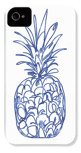 Blue Pineapple- Art By Linda Woods IPhone 4 / 4s Case by Linda Woods