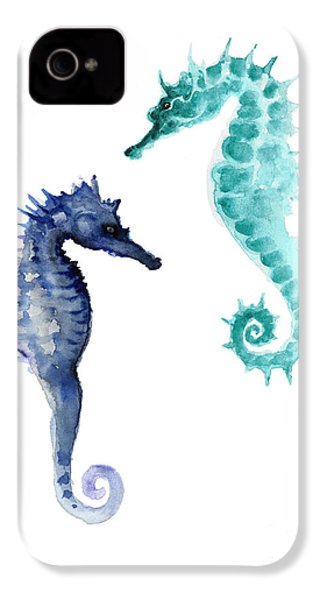 Blue Seahorses Watercolor Painting IPhone 4 / 4s Case by Joanna Szmerdt