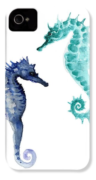 Blue Seahorses Watercolor Painting IPhone 4 Case by Joanna Szmerdt
