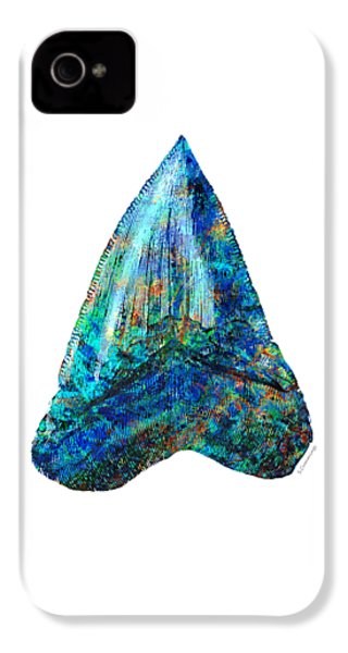 Blue Shark Tooth Art By Sharon Cummings IPhone 4 Case by Sharon Cummings