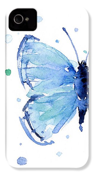 Blue Watercolor Butterfly IPhone 4 Case by Olga Shvartsur