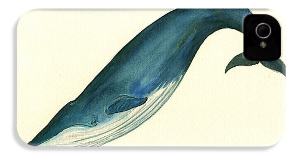 Blue Whale Painting IPhone 4 Case by Juan  Bosco