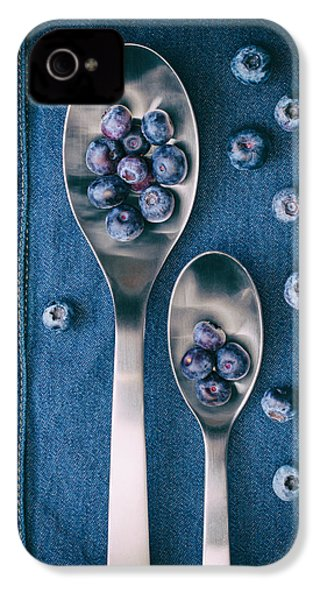 Blueberries On Denim I IPhone 4 Case by Tom Mc Nemar