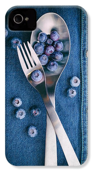 Blueberries On Denim II IPhone 4 Case by Tom Mc Nemar