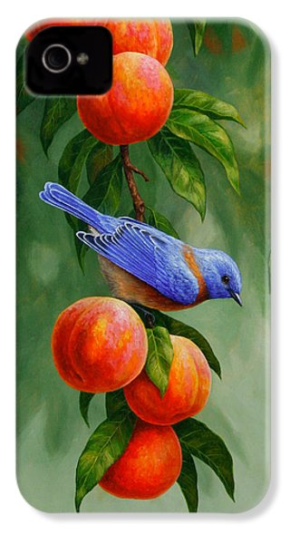 Bluebird And Peach Tree Iphone Case IPhone 4 Case by Crista Forest