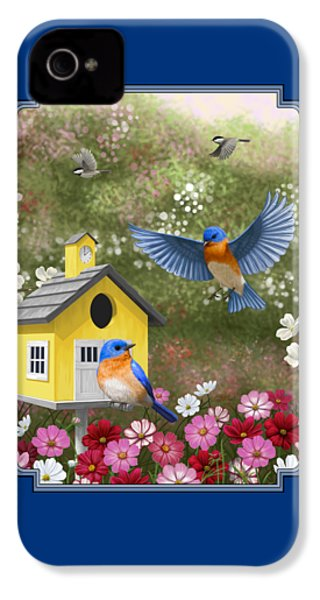 Bluebirds And Yellow Birdhouse IPhone 4 / 4s Case by Crista Forest