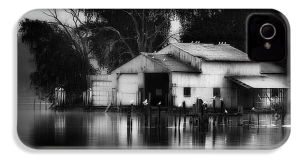 IPhone 4 Case featuring the photograph Boathouse Bw by Bill Wakeley