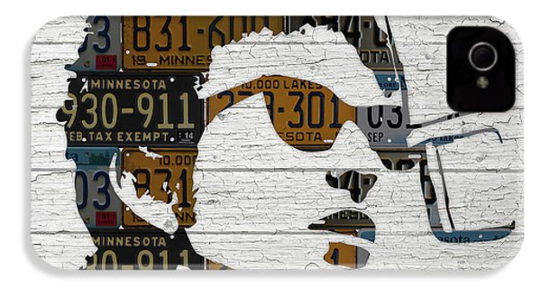 Bob Dylan Minnesota Native Recycled Vintage License Plate Portrait On White Wood IPhone 4 Case by Design Turnpike