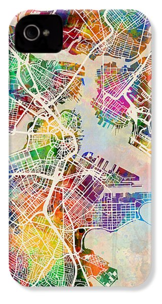 Boston Massachusetts Street Map IPhone 4 Case by Michael Tompsett