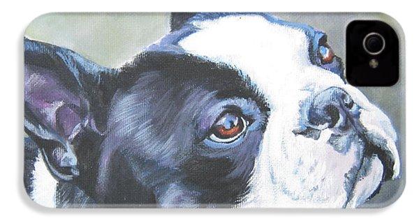 boston Terrier butterfly IPhone 4 Case by Lee Ann Shepard