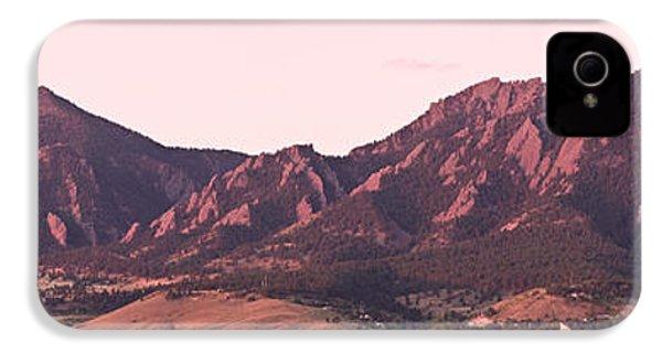 Boulder Colorado Flatirons 1st Light Panorama IPhone 4 Case