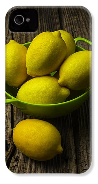 Bowl Of Lemons IPhone 4 Case by Garry Gay