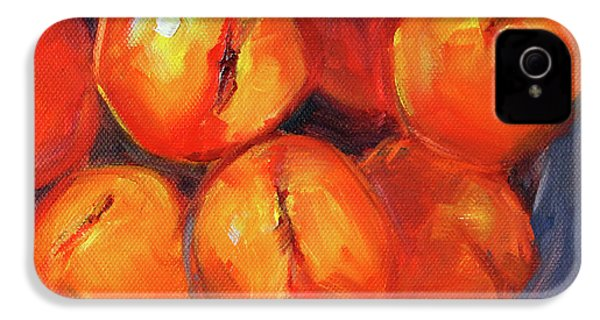 IPhone 4 Case featuring the painting Bowl Of Peaches Still Life by Nancy Merkle