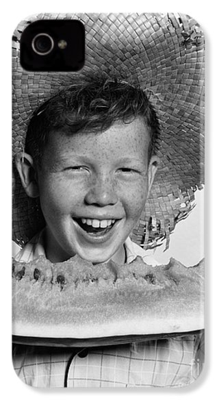 Boy Eating Watermelon, C.1940-50s IPhone 4 Case by H. Armstrong Roberts/ClassicStock
