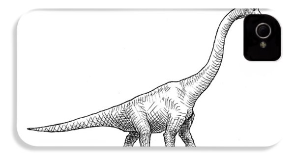 Brachiosaurus Black And White Dinosaur Drawing  IPhone 4 Case by Karen Whitworth