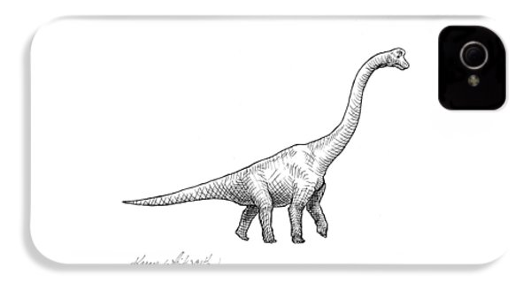 Brachiosaurus Black And White Dinosaur Drawing  IPhone 4 Case by Karen Whitworth