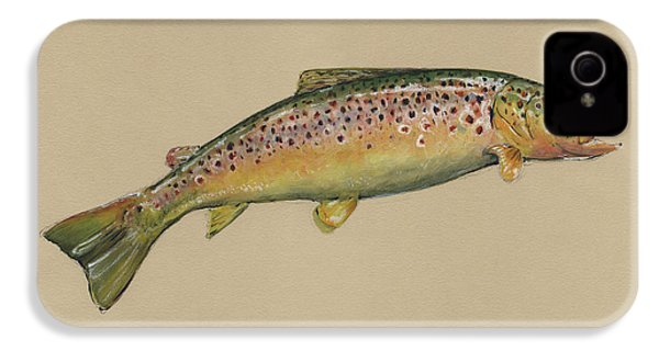 Brown Trout Jumping IPhone 4 Case by Juan Bosco