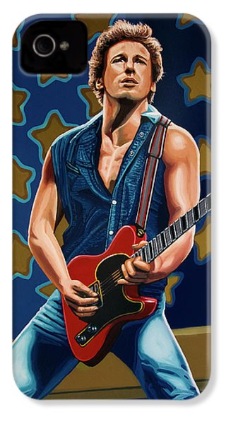 Bruce Springsteen The Boss Painting IPhone 4 Case by Paul Meijering