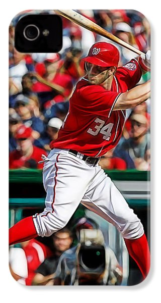 Bryce Harper Washington Nationals IPhone 4 / 4s Case by Marvin Blaine