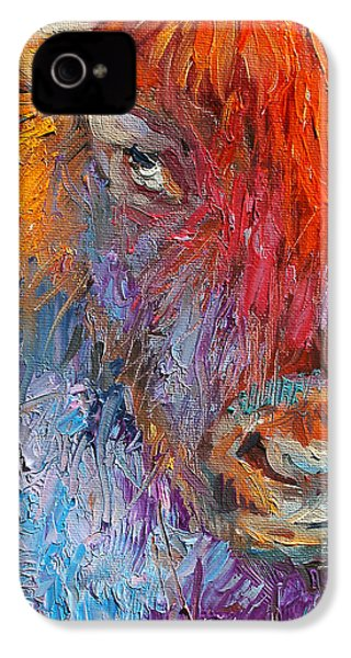 Buffalo Bison Wild Life Oil Painting Print IPhone 4 Case