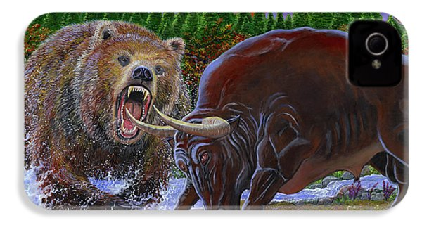 Bull And Bear IPhone 4 / 4s Case by Carey Chen