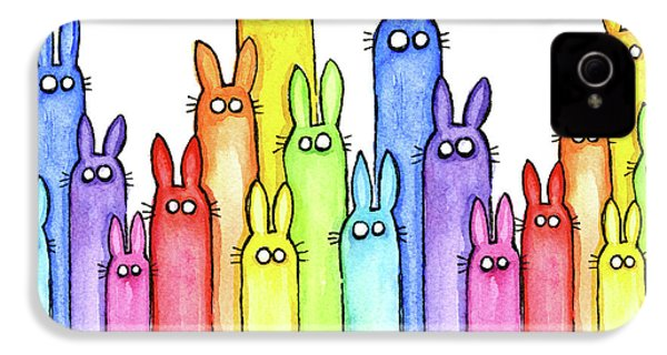 Bunny Rainbow Pattern IPhone 4 Case by Olga Shvartsur