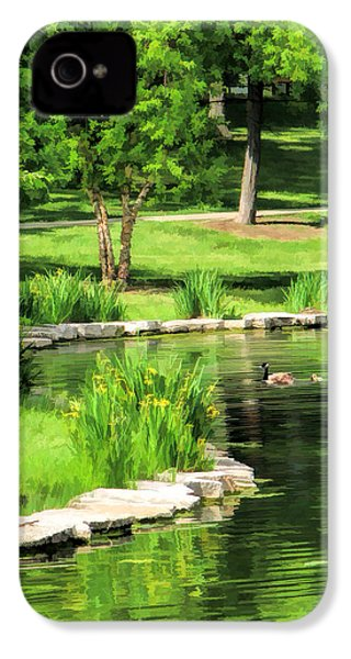 IPhone 4 Case featuring the painting Calm Lake Ellyn by Christopher Arndt