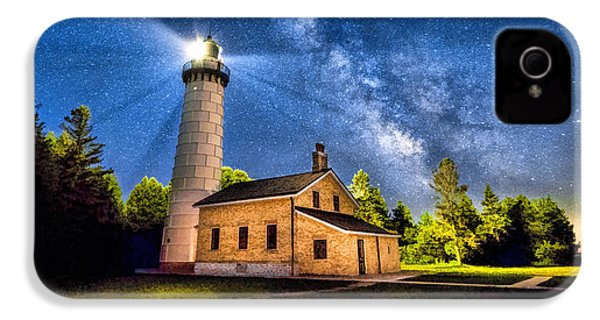 Cana Island Lighthouse Milky Way In Door County Wisconsin IPhone 4 Case by Christopher Arndt