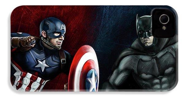 Captain America Vs Batman IPhone 4 Case by Vinny John Usuriello