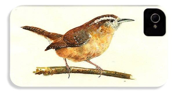 Carolina Wren Watercolor Painting IPhone 4 Case by Juan  Bosco