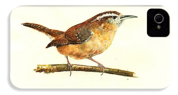 Carolina Wren Watercolor Painting IPhone 4 Case by Juan  Bosco