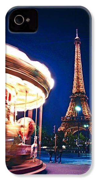 Carousel And Eiffel Tower IPhone 4 Case by Elena Elisseeva