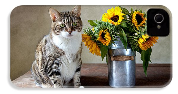 Cat And Sunflowers IPhone 4 Case by Nailia Schwarz