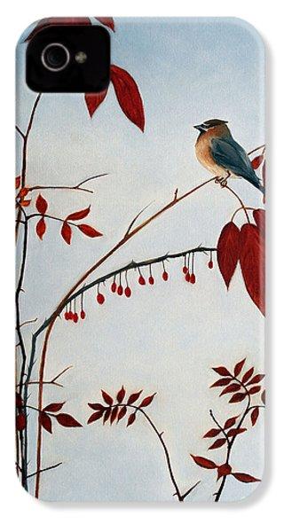 Cedar Waxwing IPhone 4 Case by Laura Tasheiko