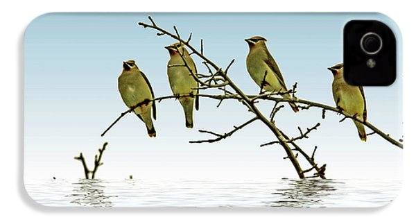 Cedar Waxwings On A Branch IPhone 4 Case by Geraldine Scull