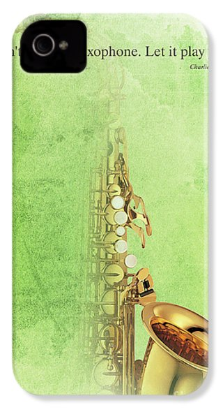 Charlie Parker Saxophone Green Vintage Poster And Quote, Gift For Musicians IPhone 4 Case