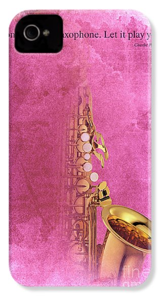 Charlie Parker Saxophone Light Red Vintage Poster And Quote, Gift For Musicians IPhone 4 / 4s Case by Pablo Franchi