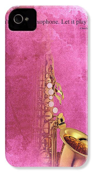 Charlie Parker Saxophone Light Red Vintage Poster And Quote, Gift For Musicians IPhone 4 Case