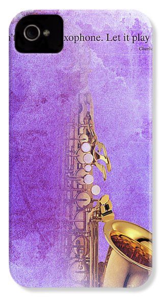 Charlie Parker Saxophone Purple Vintage Poster And Quote, Gift For Musicians IPhone 4 Case