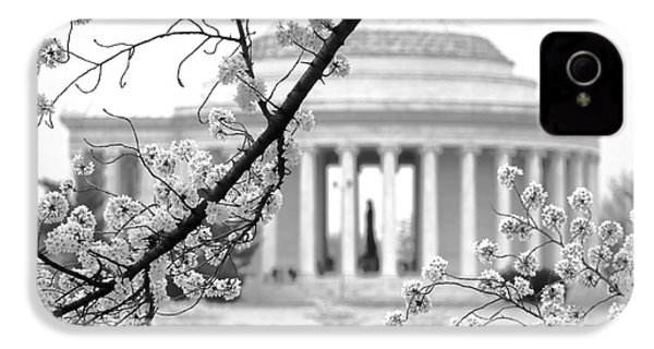 Cherry Tree And Jefferson Memorial Elegance  IPhone 4 Case by Olivier Le Queinec