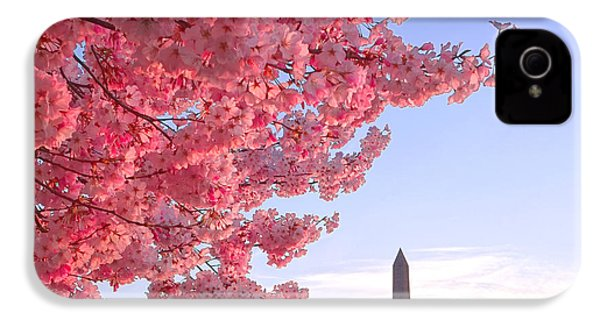 Cherry Tree And The Washington Monument  IPhone 4 Case by Olivier Le Queinec