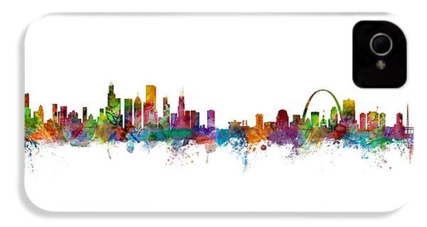 Chicago And St Louis Skyline Mashup IPhone 4 / 4s Case by Michael Tompsett