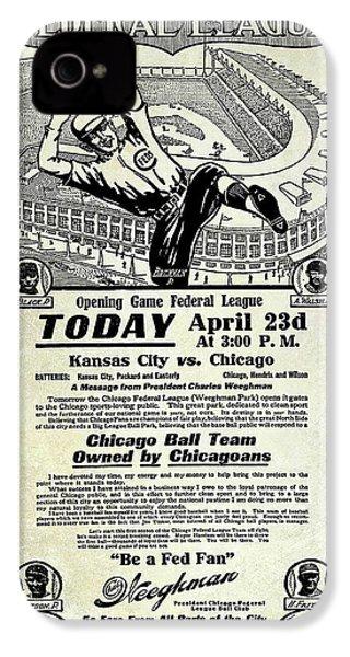 Chicago Cub Poster IPhone 4 Case by Jon Neidert