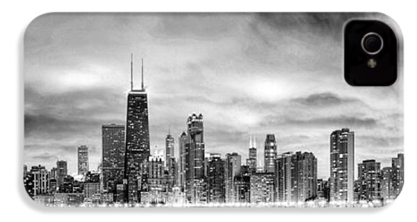 Chicago Gotham City Skyline Black And White Panorama IPhone 4 Case by Christopher Arndt