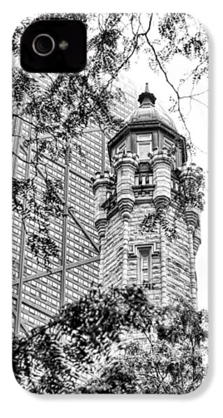 IPhone 4 Case featuring the photograph Chicago Historic Water Tower Fog Black And White by Christopher Arndt