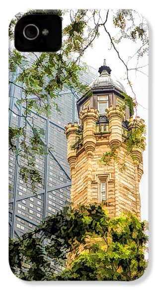 IPhone 4 Case featuring the painting Chicago Historic Water Tower Fog by Christopher Arndt