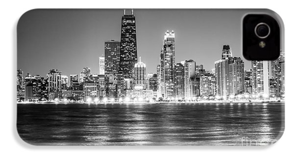 Chicago Lakefront Skyline Black And White Photo IPhone 4 Case by Paul Velgos