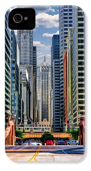 IPhone 4 Case featuring the painting Chicago Lasalle Street by Christopher Arndt